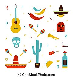 Set on a mexico theme. Different mexican bright icons collection: maracas, cactus, hat, guitar, mask, pepper, tequila, skull, trumpet. Colorful vector illustration.