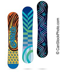 snowboards isolated on white background