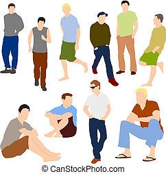 set, ongedwongen, mannen, kleren