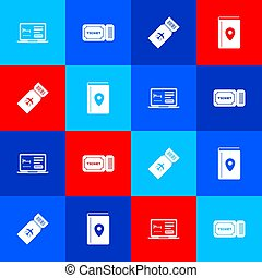 Set Online hotel booking, Ticket, Airline ticket and Cover travel guide icon. Vector