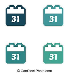 Set oof paper sticker on white background calendar December 31