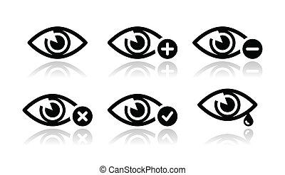 set, oog, iconen, -, vector, in het oog krijgen