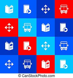 Set Open book, Audio, Pixel arrows in four directions and Bus icon. Vector