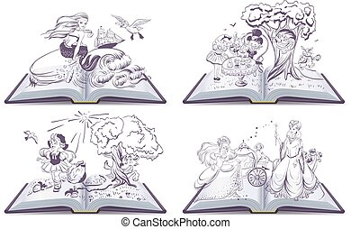 Set open book fairy tale