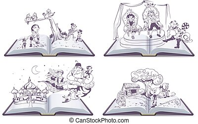 Set Open book illustration tale story