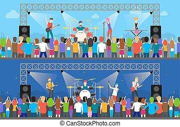 set., open, concerten, lucht