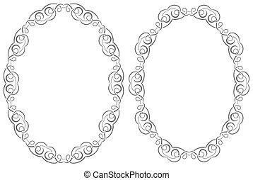 Set openwork vector frame - A set of two oval vector frames