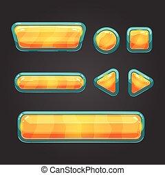 Set orange button in cartoon style