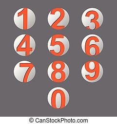 set orange number icon with shadow
