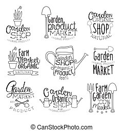 set, organico, giardino, mano, disegnato, bandiera