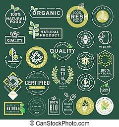 set, organico, icone, cibo, bevanda, elementi