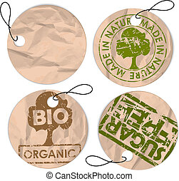 set, organisch, markeringen, voedingsmiddelen, grunge, ronde