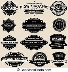set, organisch voedsel, etiketten, verzameling, vector