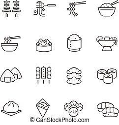 set, orientale, cibo, linee, -, icona