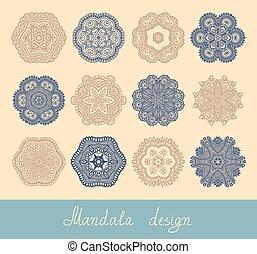 set, ornament, verzameling, 12, afdrukken, cirkel, mandala, ontwerp