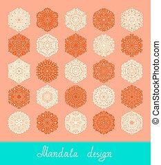 set, ornament, verzameling, afdrukken, cirkel, mandala, ontwerp