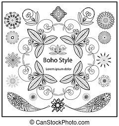 Set ornamental Boho style elements