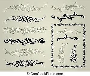 Set ornaments. Vector tattoo