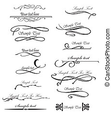 Set ornate design elements for you text. Vector - Set ...