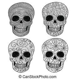 set., ornement, crâne