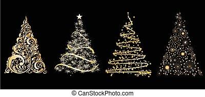 set, oro, albero, stilizzato, vettore, sfondo nero, natale