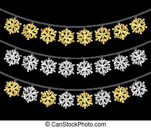 set, oro, argento, luci, textured, natale