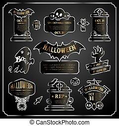 set, oro, etichette, halloween, disegno, argento