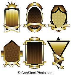 set, oro, etichette, lamina, cornici, o