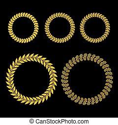 set, oro, ghirlanda, sfondo nero, alloro