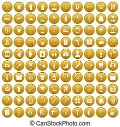 set, oro, icone, medico, 100, cura