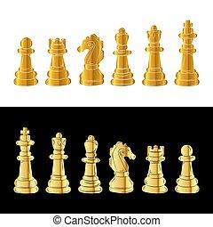 set, oro, illustrazione, pieces., vettore, scacchi