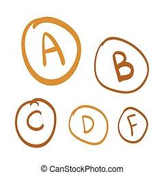 set, oro, scarabocchiare, lettere, illustrazione, mano, vettore, gradi, disegnato