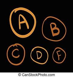 set, oro, scarabocchiare, lettere, illustrazione, mano, vettore, sfondo nero, gradi, disegnato