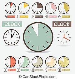 set, orologio, -, conto alla rovescia, vettore, retro, tempo