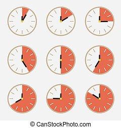 set, orologio, -, conto alla rovescia, vettore, tempo