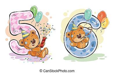 set, orso teddy, vettore, numeri, divertimento