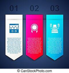 Set Oscilloscope, Audio jack and Music recording studio. Business infographic template. Vector
