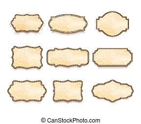set, oud, groot, etiketten, textuur, papier, ouderwetse , witte