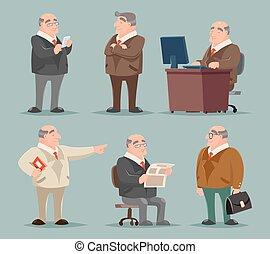 set, oud, groot, karakter, illustratie, baas, vector, ontwerp, volwassene, zakenman, spotprent, man