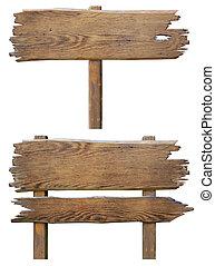 set, oud, houten, vrijstaand, ondertekenen plank, witte , straat