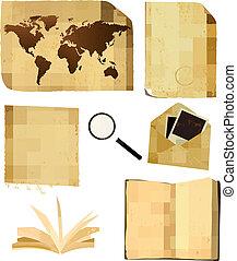 set, oud, map., papier, vector, bladen