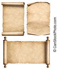 set, oud, ouderwetse , papyrus, illustratie, boekrol, perkament, 3d