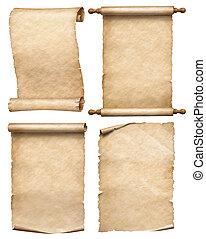 set, oud, rollen, vrijstaand, of, papier, witte , perkament