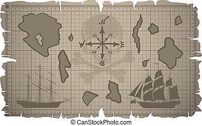 set, oud, vector., map., papier, bladen