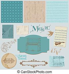 set, ouderwetse , -, communie, muziek, plakboek, ontwerp