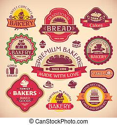 set, ouderwetse , etiketten, bakkerij, vector, gevarieerd