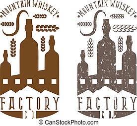 set, ouderwetse , etiketten, fabriek, whisky, vector