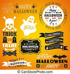 set, ouderwetse , -, etiketten, halloween, linten