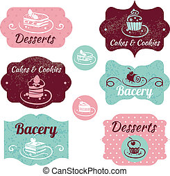 set, ouderwetse , labels., bakkerij, cupcakes, lijstjes
