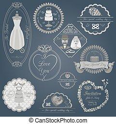 set, ouderwetse , logos, trouwfeest